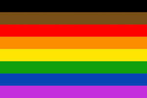 Rectangle with black, brown, red, orange, yellow, green, blue and purple stripes