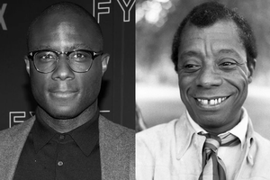Black-and-white photo of Black man in blazer and button-down next to black-and-white photo of Black man in white shirt and patterned scarf