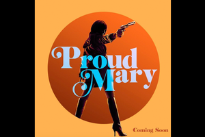 Silhouette of Black woman holding gun behind light blue text and in front of dark orange circle surrounded by light orange rectangle with dark orange text