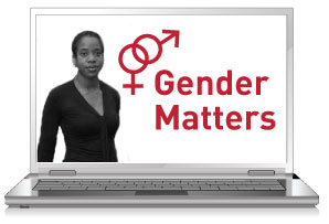 Gender Matters displayed on open laptop with Akiba Solomon to the left.