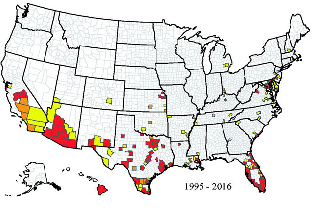 Map showing the reported occurrence of the mosquito that carries the Zika virus in U.S. counties between January 1995 and March 2016.