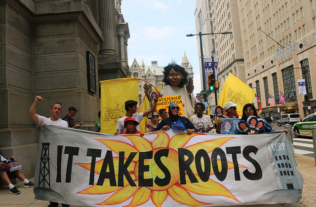 It Takes Roots to Change the System People's Caravan #JusticeForBerta Action at the Democratic National Convention in Philadelphia on July 25, 2016.