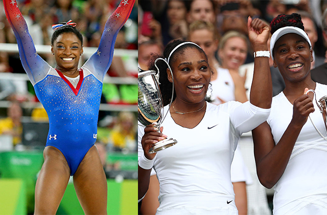 Simone Biles, left, and Serena and Venus Williams, right. Photos by Clive Brunskill and Alex Livesey via Getty