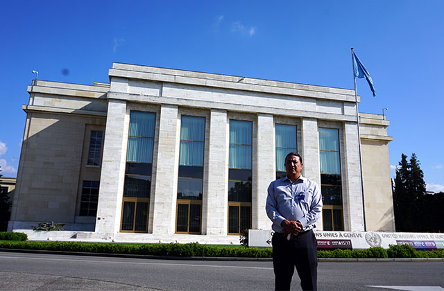 Chairman of Standing Rock Sioux Tribe, Dave Archambault II, stands in front the United Nations office in Geneva, Switzerland, on September 20, 2016.