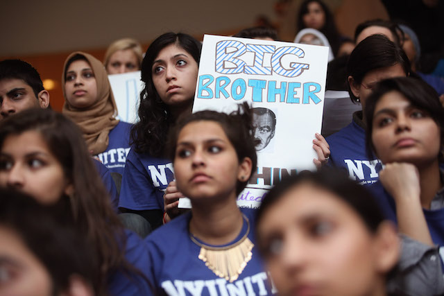Concerned, mostly women NYU students attend a town hall meeting to discuss NYPD spying