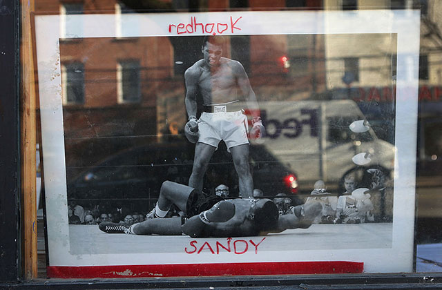 A photo stands in the window of an art gallery in the Red Hook neighborhood of Brooklyn on December 5, 2012, in New York City.
