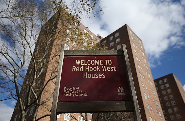 A Red Hook housing project stands without power on November 3, 2012, in the Brooklyn borough of New York City.