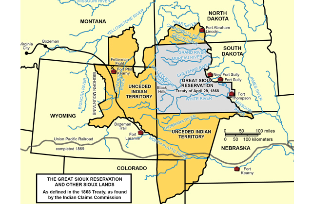 Fort Laramie Treaty of 1868. The treaty created the Great Sioux Reservation (in gray). Unceded lands (in yellow) in Wyoming, Nebraska and Dakota Territory were reserved for hunting.