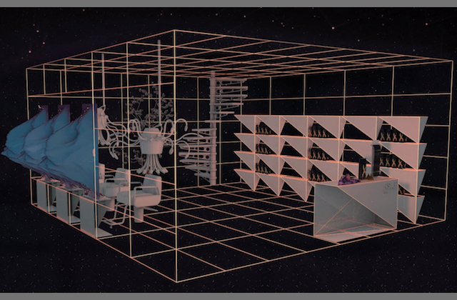 Pink grid with computer-generated blue mirrors, pink salon chairs and pink shelf in front of black background