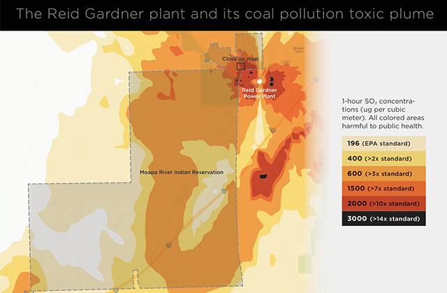 This map shows the toxic pollution over the Moapa River Indian Reservation, as well as its proximity to the Reid Gardner Generating Station.