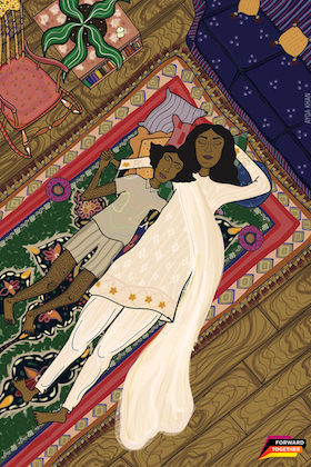 Brown mother and child in beige clothing on multi-colored rug near brown chair and green plant