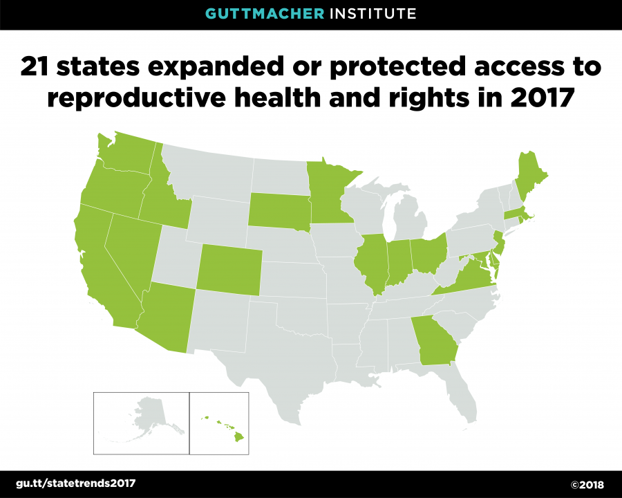 Map of the U.S. with states that improved reproductive rights filled in