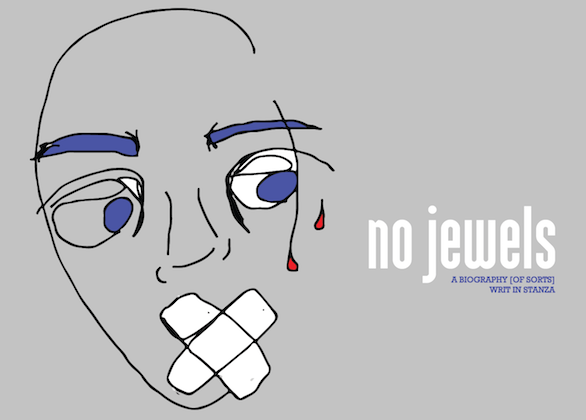 Black outline of face with blue eyes and eyebrows and red tears white x-shaped tape over mouth with blue and white and black text on grey background
