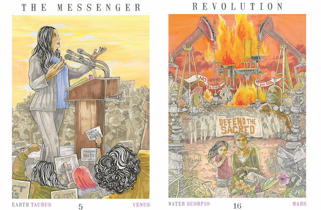 Two tarot cards, one with a Latinx woman at a podium, one with a fire and oil scene