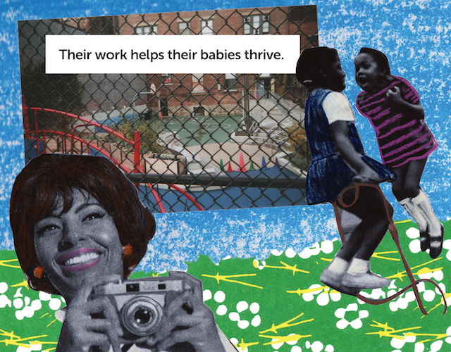 A collage of a Black woman holding a camera over a blue and green patterned background with two Black girls jumping rope and an image of a playground in the background.