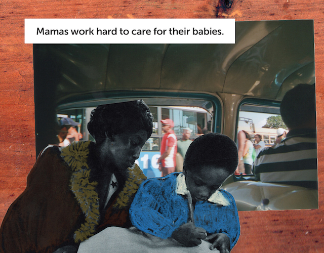 A collaged image of a Black woman watching over her child as he writes pasted over the inside of a car with a driver and a window overlooking people on the street.
