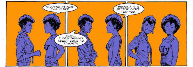 Comic panels with purple women and orange background and black outline