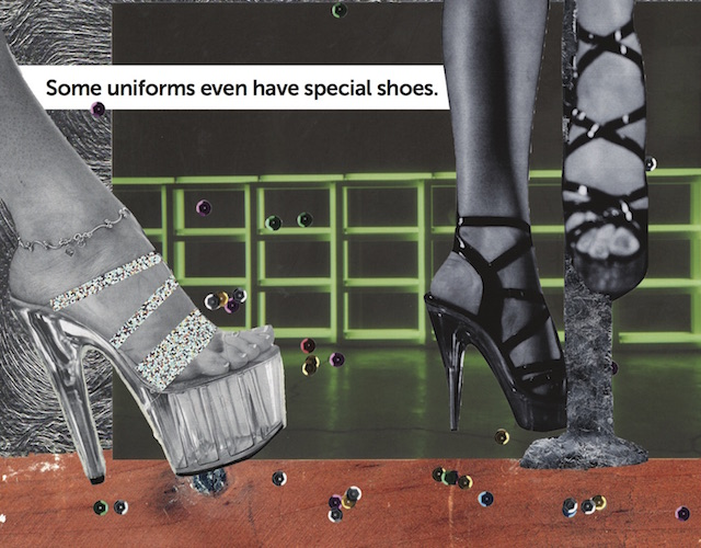 Collaged image of two pairs of legs wearing stilettos over a green opaque neon background and burgundy floor with multicolored craft rhinestones sprinkled throughout.