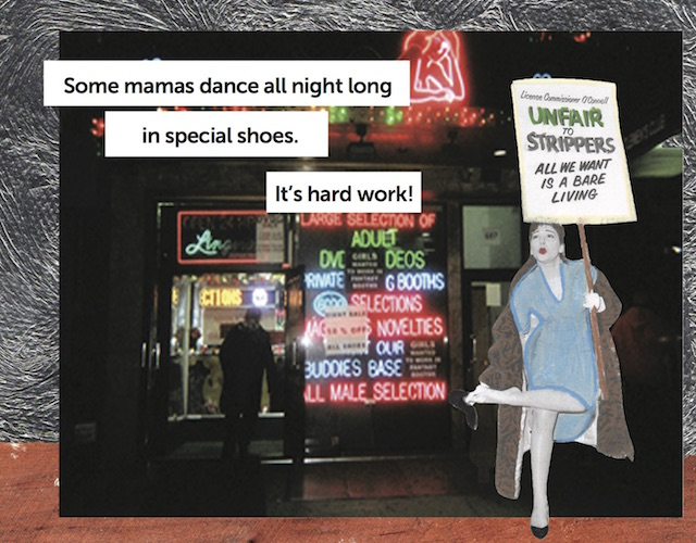 Collaged image of a White woman standing outside of an adult sex shop with neon signs she is holding a protest sign that says unfair to strippers all we want is a bare living.