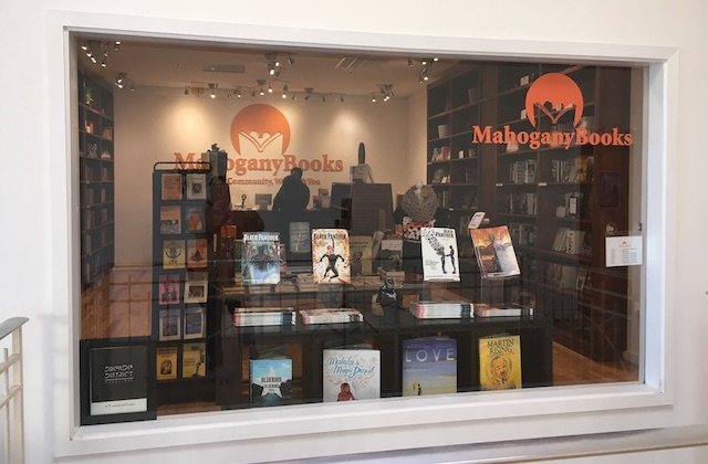 The front window of a bookstore