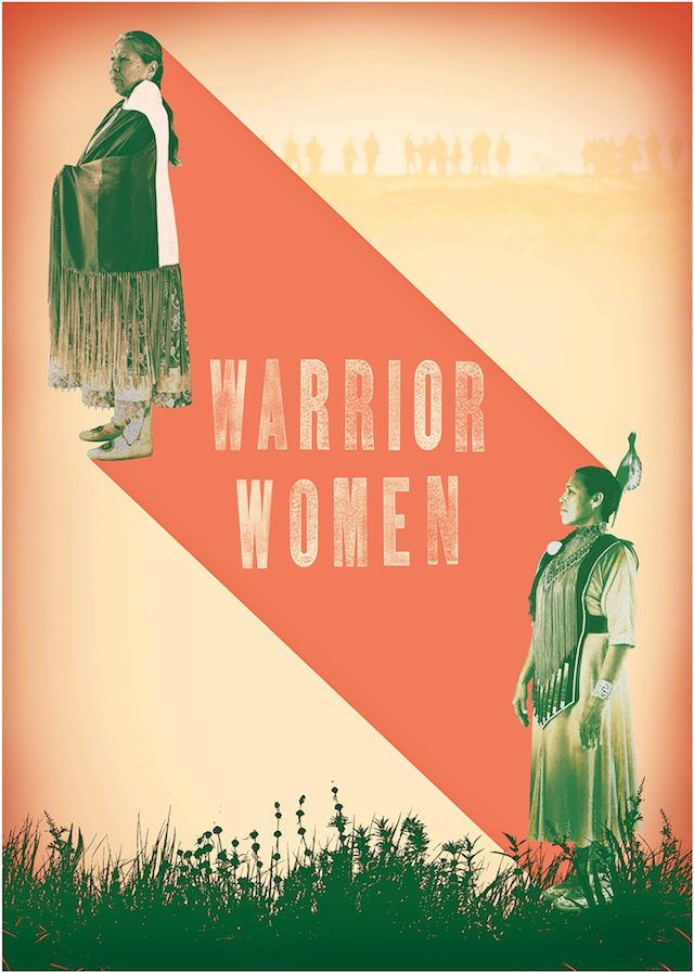 Film poster with Indigenous women in sepia tones on red banner with beige text in front of brown sky and dark gray grass