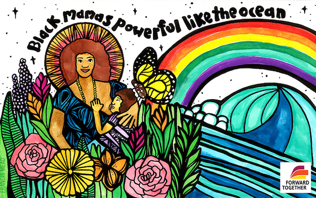 Illustration of Black woman with brown afro in blue patterned clothing holding Black child with brown hair in purple patterned clothing encircled by green plants and pink and orange and purple flowers next to blue ocean and multicolored rainbow