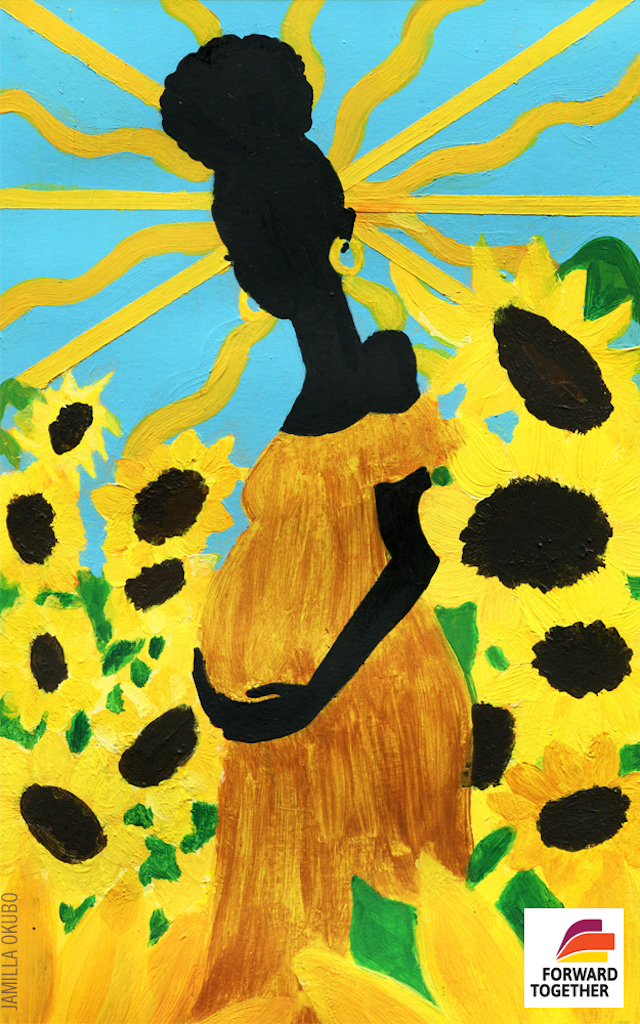 Illustration of Black woman in yellow dress holding belly in front of yellow and black and green sunflowers and blue sky with golden sun