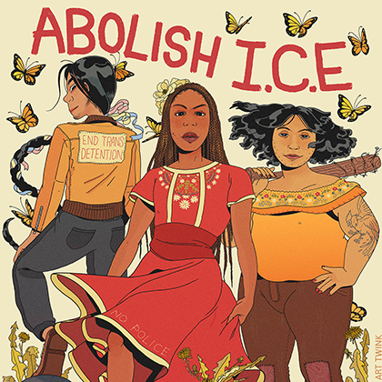 Illustration of Black and Latinx people in multicolored clothing on brown background with butterflies and red text reading