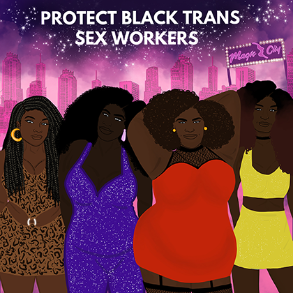 Illustration of Black transgender individuals in brown and purple and red clothing on pink and purple background with white text that reads