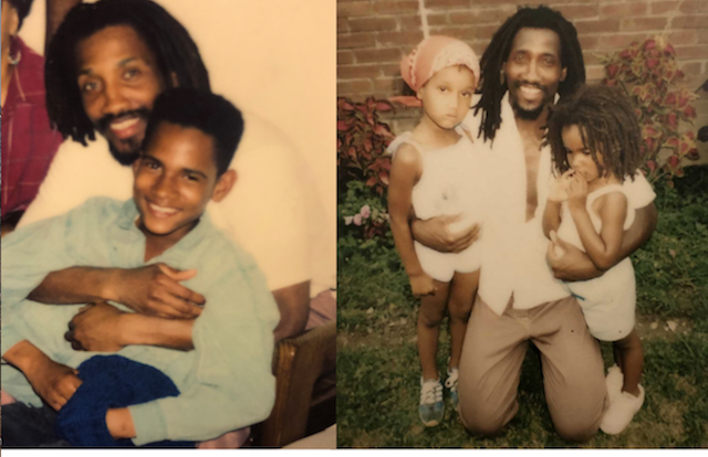 A Black man with locs holds his small son and older daughter in his lap