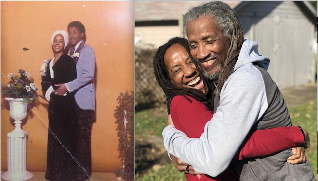 From left: At a prom, Black girl in a white headwrap is cradled by a Black boy in a lavender jacket. At right: Same Black man and woman, both with locs, embrace more than 40 years later