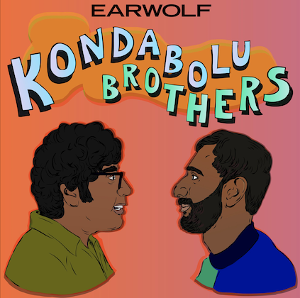 Hari and Ashok Kondabolu. Illustration of two South Asian men in green and blue shirts under green and periwinkle text spelling