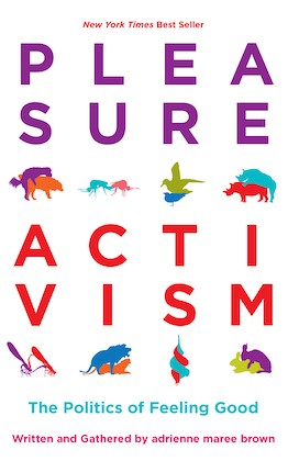 book cover of pleasure activism with purple and red text and two rows of four small colorful illustrations of animals mating in different positions