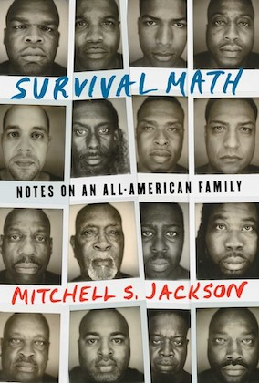 Book cover of survival math with four rows with four photographs each of black men staring looking into the camera