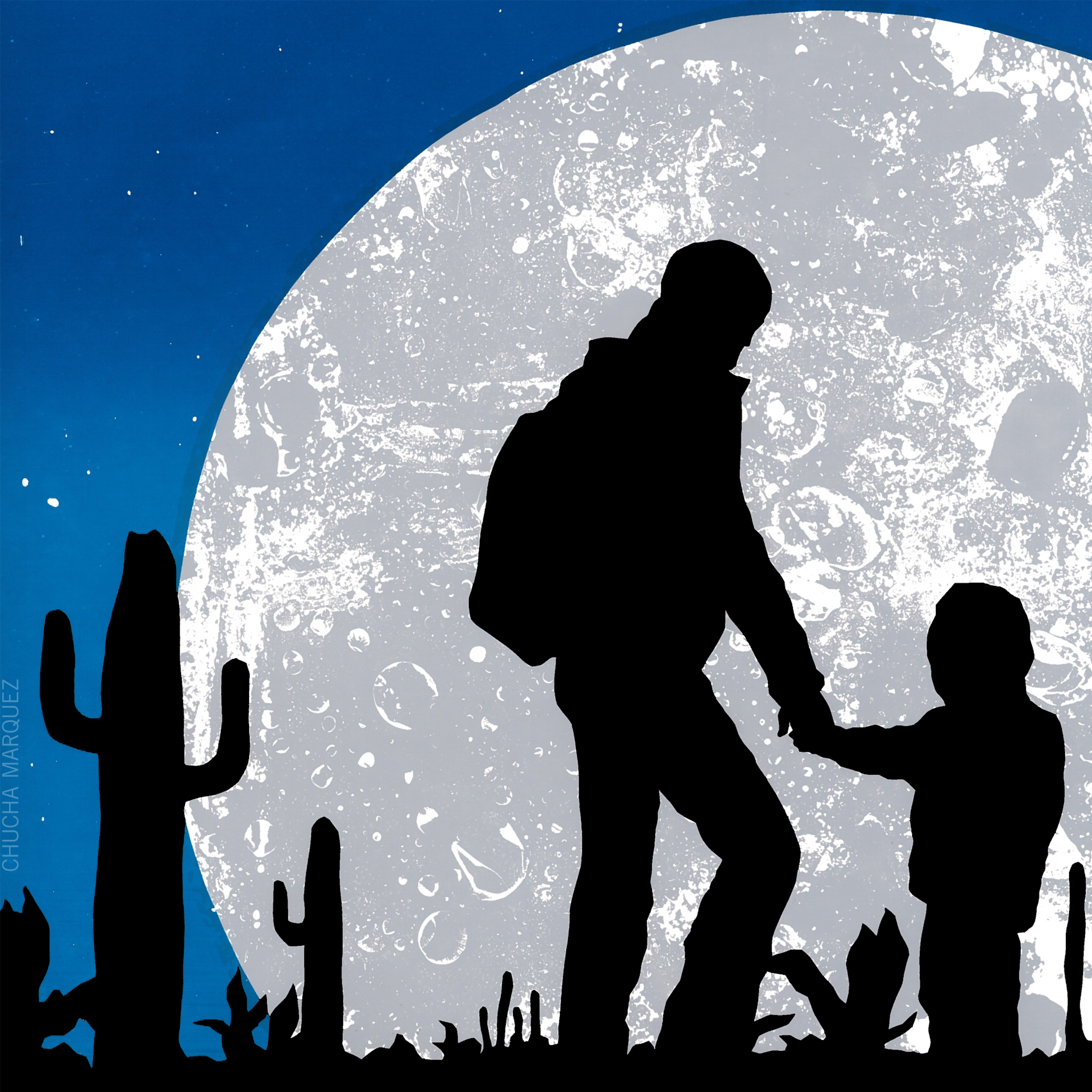 Mamas Day. Illustration of parent and child under moonlight in the desert with backpack.