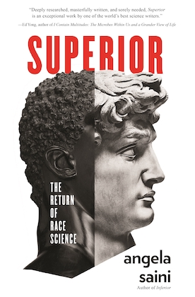 book cover of superior by angela saini with a head that is half a person of color half roman statue