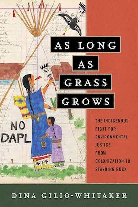book cover of as long as grass grows with artwork depicting an Indigenous woman and child protesting at nodapl the woman yelling at an eagle flying down