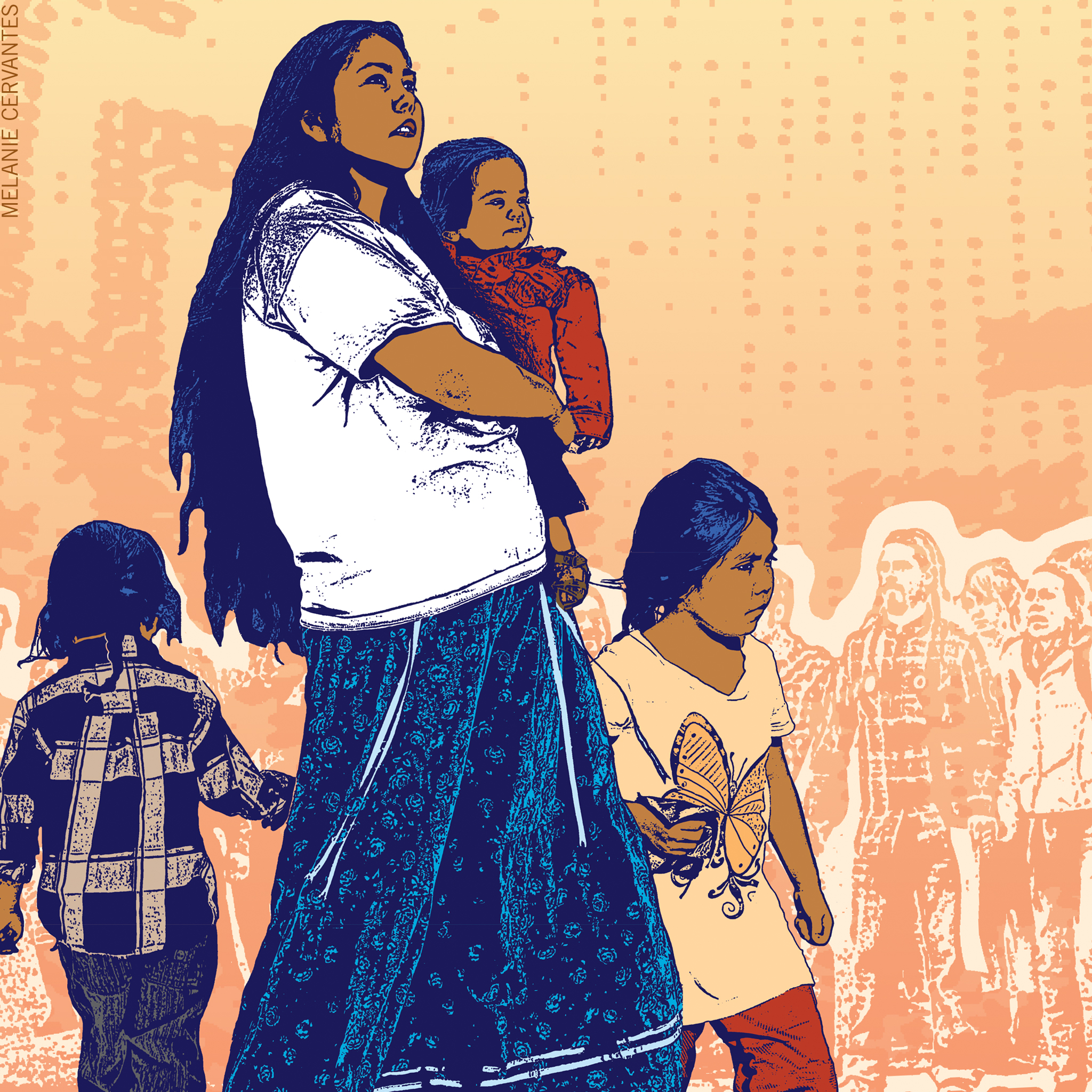 Mamas Day. Illustration showing Indigenous mom with small children.