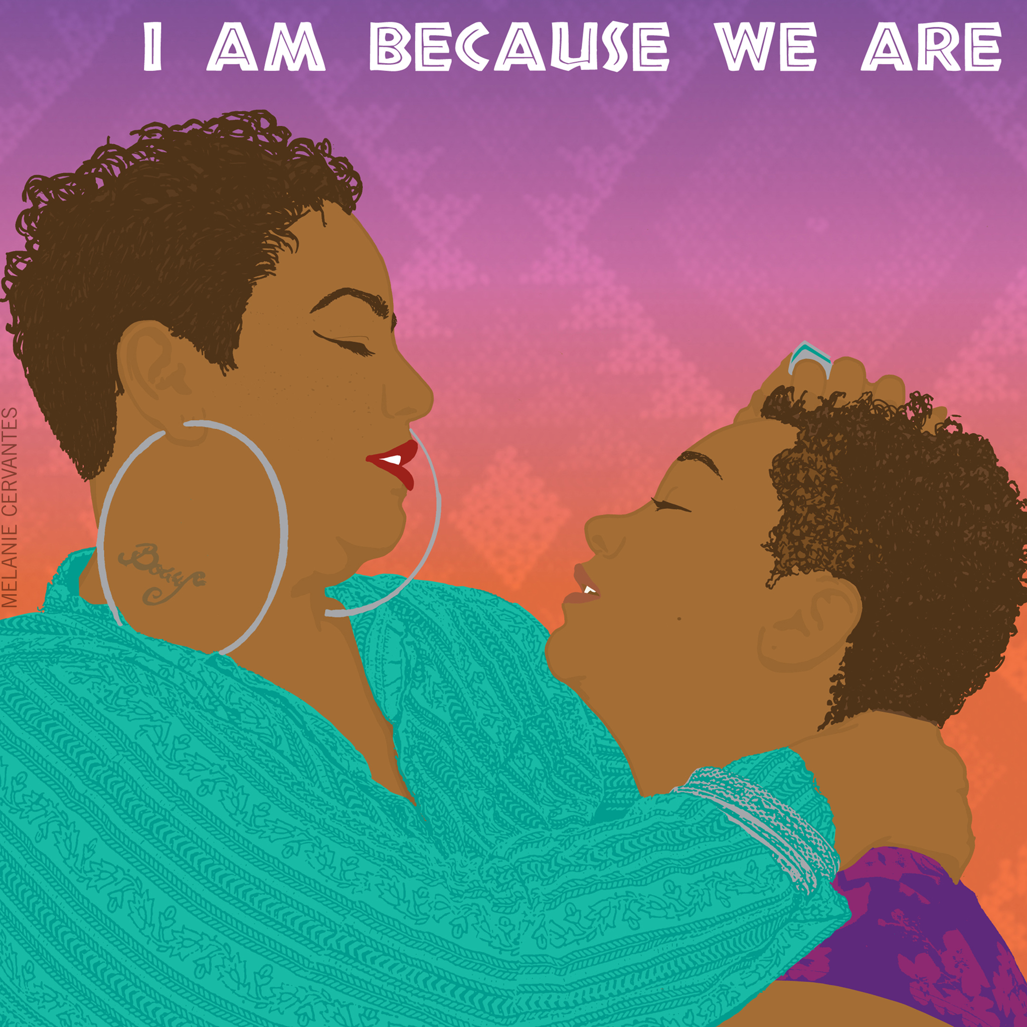 Mamas Day. Colorful Illustration of mom with short cut embracing daughter.