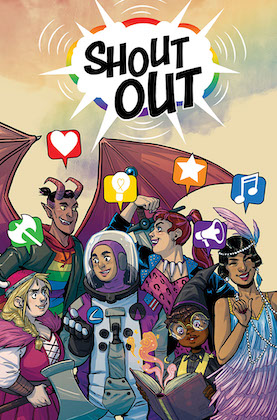 book cover of shoutout anthology with six supernatural and fantasy characters of color drawn as comics