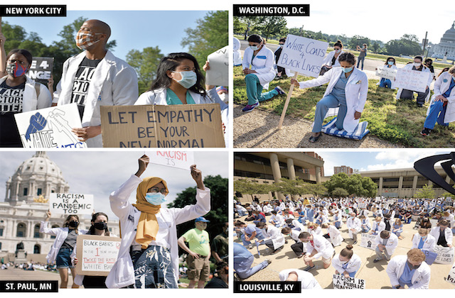 Doctors from New York City, D.C., Saint Paul, and Louisville are protesting in their white scrubs.