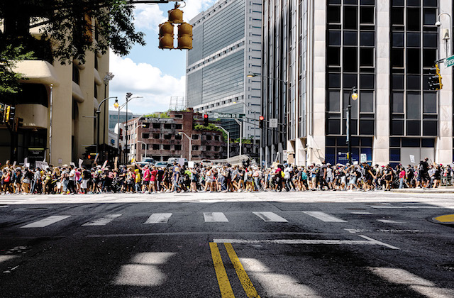 A crowd of protesters march in a rally on Juneteenth in Atlanta.