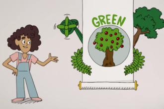 Illustration of Yara Shahidi in pink shirt and blue overalls next to white scroll with green plants and text in front of grey background