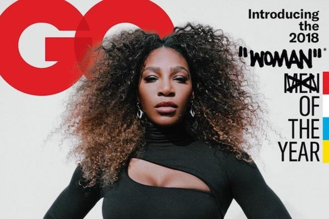 Serena Williams. Black woman with brown hair in black outfit in front of off-white magazine cover background and red text and next to black and yellow and red text