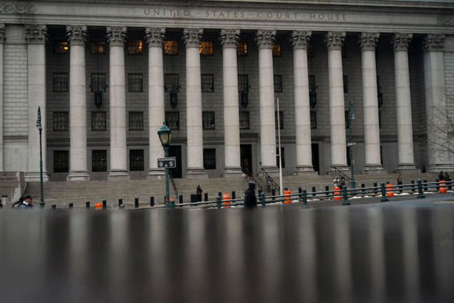 outside shot of Manhattan's federal courthouse