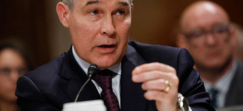 Oklahoma Attorney General Scott Pruitt, President Donald Trump's choice to head the Environmental Protection Agency, testifies during his confirmation hearing before the Senate Committee on Environment and Public Works on January 18, 2017, in D.C.