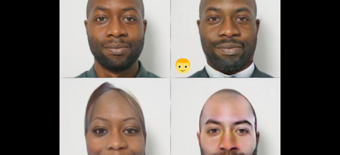 Black man in four quadrants with altered face in front of grey wall