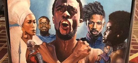 """Painting of """"Black Panther"""" cast in multicolored clothing against blue sky on red and gold carpet"""
