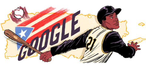 """Roberto Clemente. Illustration of Black Latinx man in black and tan baseball uniform holding brown baseball bat in front of black text reading """"GOOGLE"""" and a red white and blue Puerto Rican flag on tan image of Puerto Rico"""