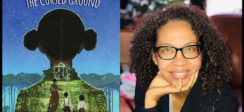 Book cover with blue, starry sky and silhouette of a Black girl's head with a pastoral image superimposed on her dress